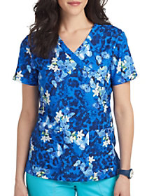Blue Moon Bay Mock Wrap Print Top