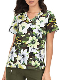 Camouflage Brook Mock Wrap Print Top