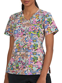 Tokidoki Camo Mock Wrap Print Top