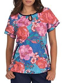 Line Floral Keyhole Neck Print Top