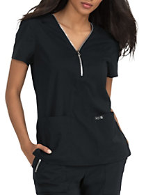 Marie 2 Pocket Zip Front Top