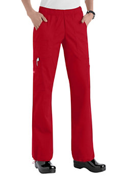Cherokee Workwear Core Stretch Comfort Waist Cargo Scrub Pants Red
