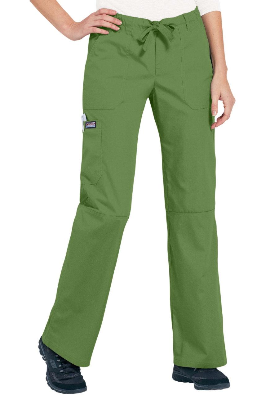 Cherokee Workwear Low Rise Drawstring Cargo Scrub Pants - Aloe - L