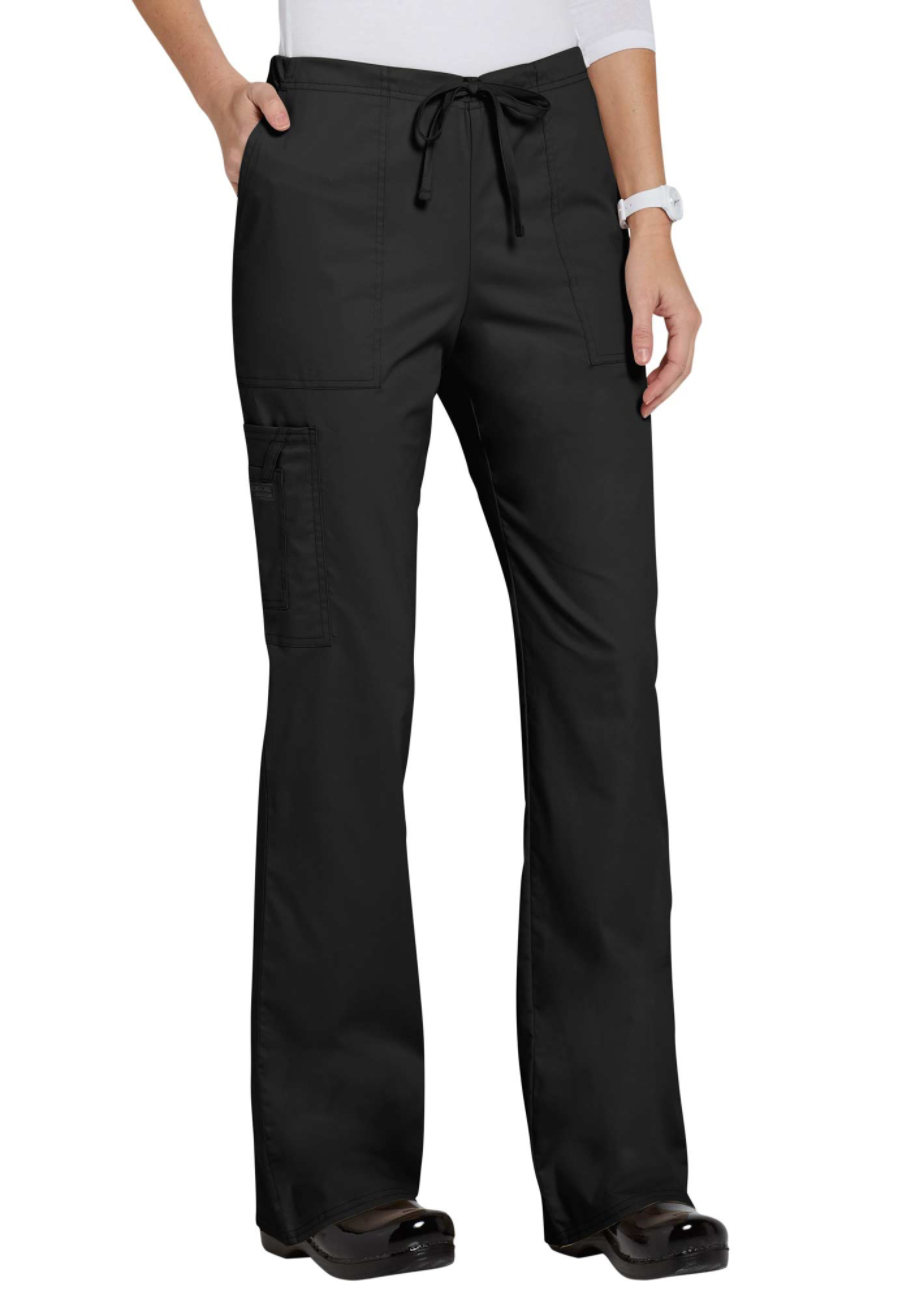 Cherokee Workwear Core Stretch Drawstring Cargo Scrub Pants - Black - 2X