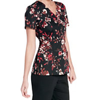 Landau Smart Stretch Woodland Floral V-neck Print Tops