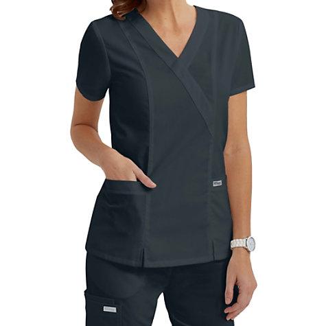 eb5908a8b79 Grey's Anatomy 2 Pocket Crossover Scrub Tops | Uniform City