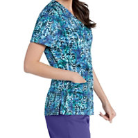 Landau Smart Stretch Stained Glass Snap Front Print Tops