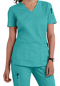 Landau For Women Prewashed V-neck Two Pocket Scrub Tops