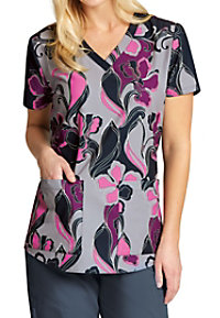 Greys Anatomy Swirly Floral V-neck Print Scrub Tops