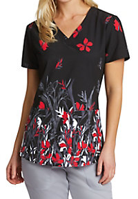 Grey's Anatomy Red Iris V-neck Print Scrub Tops