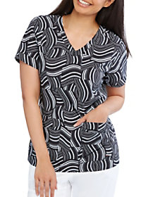 Sound Waves V-Neck Print Top