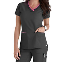 Grey's Anatomy Color Block 3 Pocket V-neck Tops