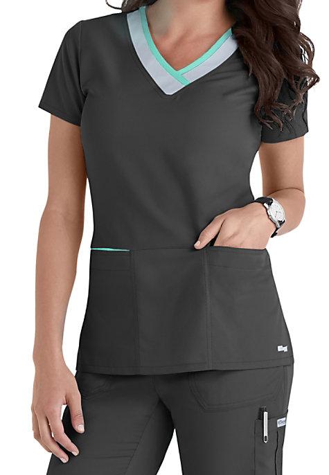 Grey S Anatomy Color Block 3 Pocket V Neck Scrub Tops