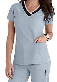 Grey's Anatomy Color Block 3-pocket V-neck Scrub Tops