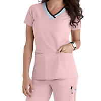 Grey's Anatomy Color Block 3 Pocket V-neck Tops