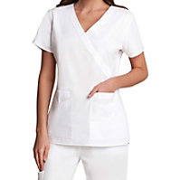 Prima By Barco Mock Wrap White Scrub Tops