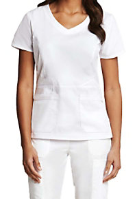 Prima By Barco Round Neck Fashion White Scrub Tops