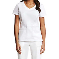 Prima By Barco Round Neck White Scrub Tops