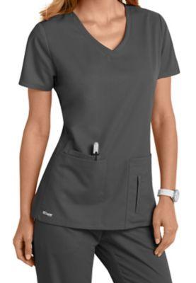 Grey's Anatomy 4 Pocket Crossover V-neck Scrub Tops