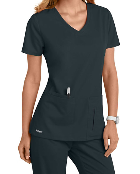 4316c460093d Greys Anatomy 4 Pocket Crossover Top