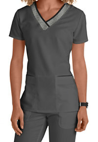 Grey's Anatomy Grid Inset Printed V-neck Scrub Tops