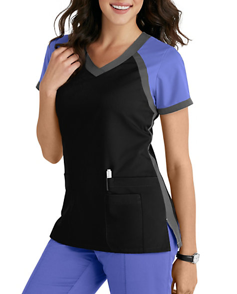 Grey\'s Anatomy 3 Pocket Color Block V-neck Scrub Tops | Scrubs & Beyond