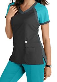 Grey's Anatomy 3 Pocket Color Block V-neck Scrub Tops