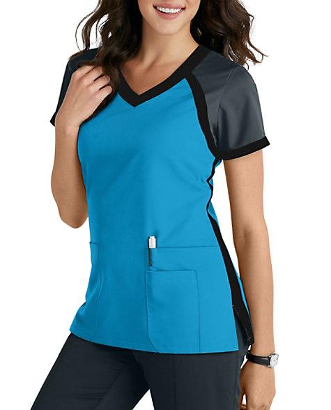 Grey s Anatomy 3 Pocket Color Block V-neck Scrub Tops  87f97ec3dba3