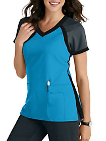 3 Pocket Color Block V-Neck Top