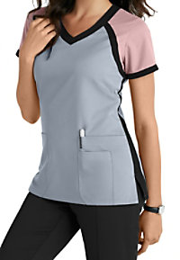 Grey's Anatomy 3 Pocket Color Block V-neck Scrub Tops