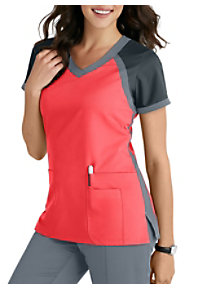 21793f06e04 See Details item #41435 · Grey's Anatomy 3 Pocket Color Block V-Neck Scrub  Top