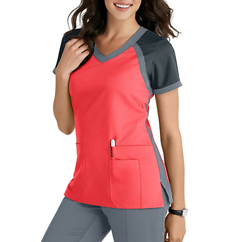 fc729597404 Grey's Anatomy 3 Pocket Color Block V-neck Scrub Tops | Uniform City