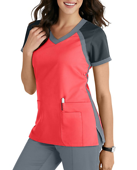 8fec1ac2732 Grey's Anatomy 3 Pocket Color Block V-neck Scrub Tops | Scrubs & Beyond
