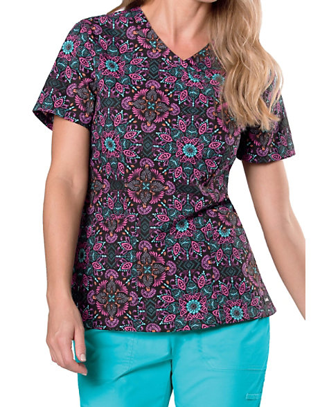 bfd6aba866a Landau Essentials Stitch In Time Mock Wrap Print Scrub Tops. item # 4150ST.  (be the first) · Click to Zoom