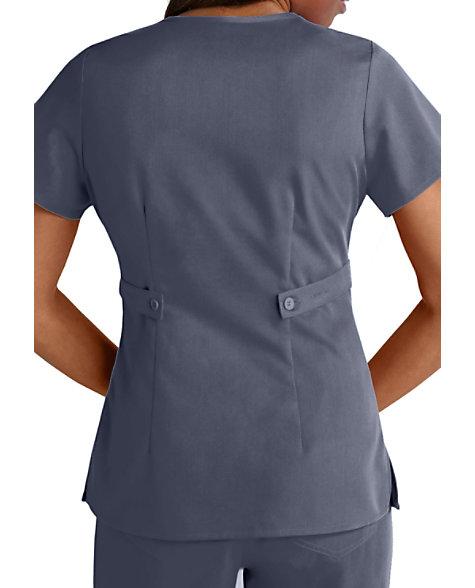 Greys Anatomy 3 Pocket Mock Wrap Scrub Tops Scrubs Beyond