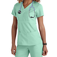 Grey's Anatomy 3 Pocket Mock Wrap Tops