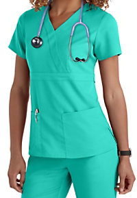 Grey's Anatomy 3 Pocket Mock Wrap Scrub Tops