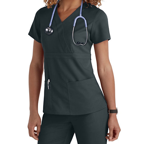 fa91f11645a Grey's Anatomy 3 Pocket Mock Wrap Scrub Tops | Uniform City