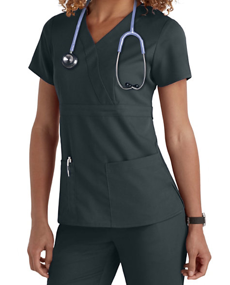 a8cbadf70d8 Grey's Anatomy 3 Pocket Mock Wrap Scrub Tops | Scrubs & Beyond