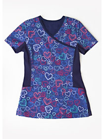 Mending Hearts Crossover Print Top