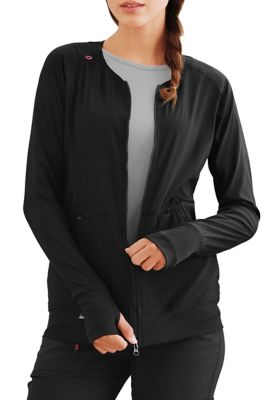 Clarity Ribbed Panel Zip Front Jacket