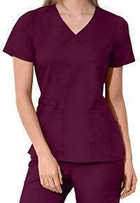 Cherokee Workwear Flex Mock Wrap Scrub Tops With Certainty