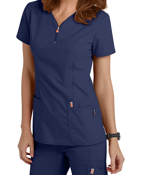 e2373c441cb Code Happy Bliss Zipper V-neck Scrub Tops With Certainty   Scrubs & Beyond