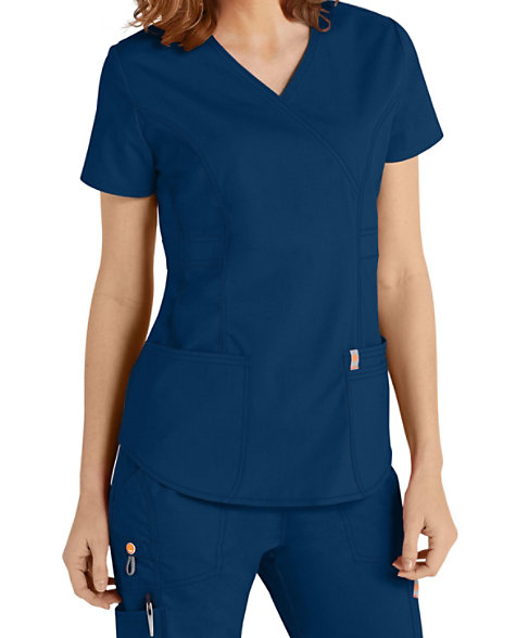 493dd063810 Code Happy Bliss Mock Wrap Scrub Tops With Certainty   Scrubs & Beyond