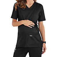 Cherokee Workwear Stretch Maternity V-neck Knit Panel Tops