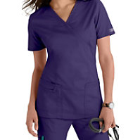 Cherokee Workwear Core Stretch Mock-wrap Tops