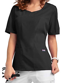3 Pocket Curved Neck Top
