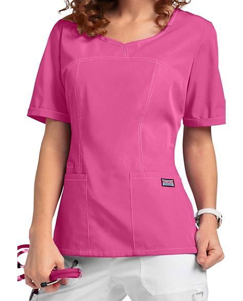 c901fd45b20 Cherokee Workwear Curved V-neck Scrub Tops | Scrubs & Beyond