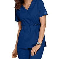 Cherokee Workwear Stretch Mock Wrap Tops