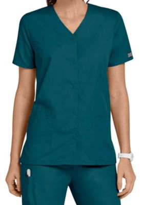 Cherokee Workwear Snap Front V-Neck Scrub Tops